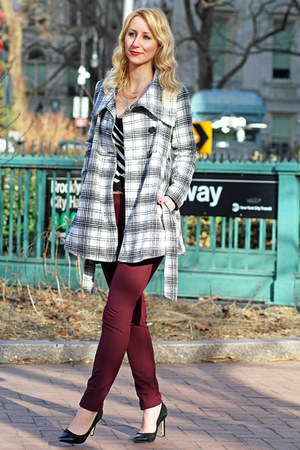white plaid Jack by BB Dakota coat - striped Guess sweater - striped Aldo bag