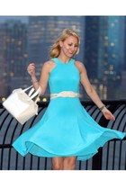 light blue Ralph Lauren dress - white kate spade bag - beige naturalizer heels