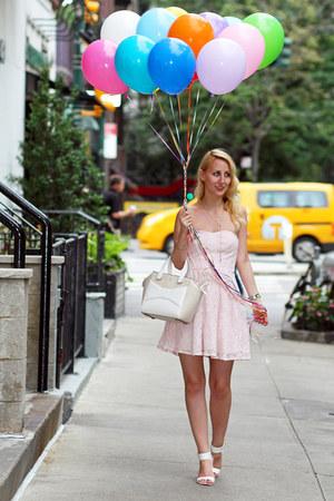 ivory kate spade bag - light pink Dynamite dress - white Nine West sandals