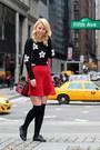 Black-oxford-primark-shoes-black-daisy-garage-sweater-ruby-red-dynamite-bag