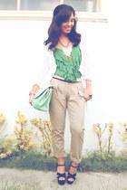 beige Plains and Prints pants