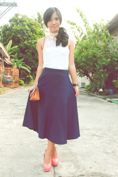 coral Chick Flick shoes - navy vintage skirt - ivory Calliope top