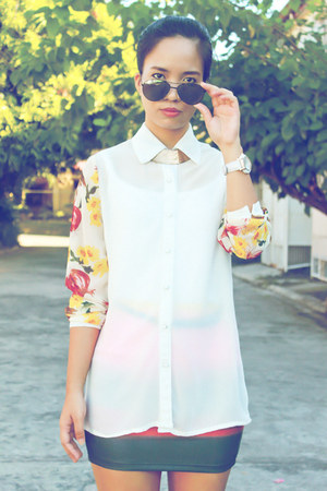 white Trendphile blouse - coral Pill clothing skirt