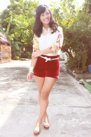 white sheer Trendphile blouse - ruby red velvet The Posh Wardrobe shorts