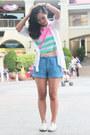 White-pink-fashion-shirt-sky-blue-tomato-shorts