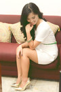 White-peplum-custom-made-dress-gold-pointed-syrup-heels