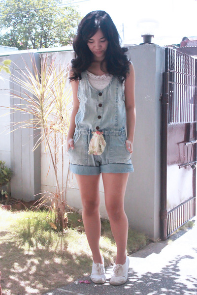 sky blue denim romper