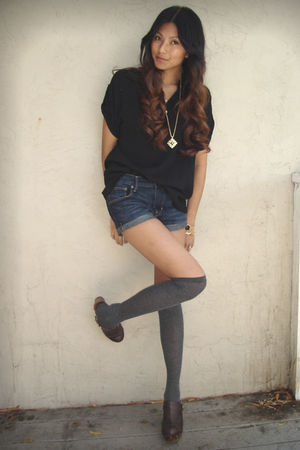 black f21 blouse - blue H&M shorts - gray Target socks - brown Steve Madden
