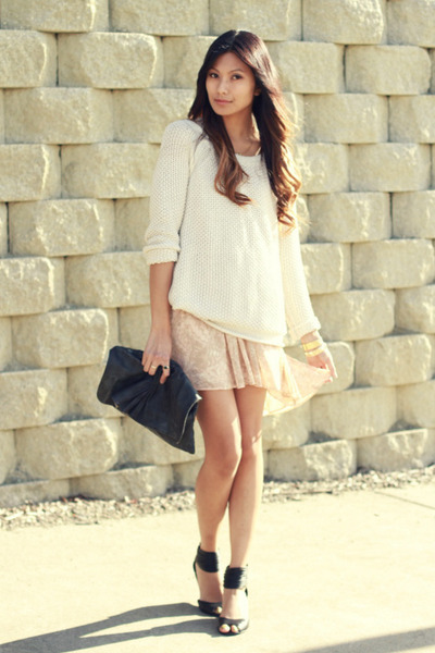 neutral Dolce Vita dress - cream Honey Punch sweater