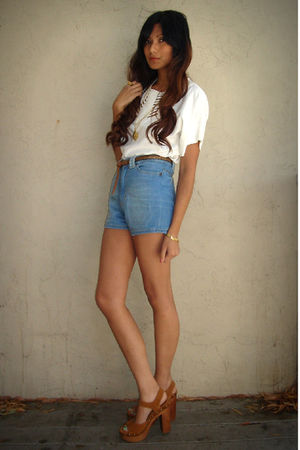 blue Zara shorts - brown Jeffrey Campbell shoes - white MNG top - brown f21 belt