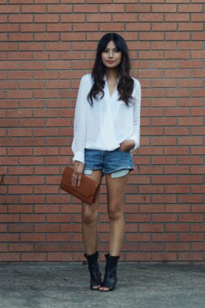 white Zara blouse - black Dolce Vita boots - blue Levis shorts