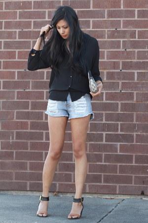 light blue Mink Pink shorts - black Zara blouse