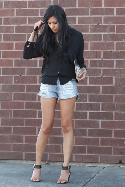 light blue Mink Pink shorts - black Zara blouse