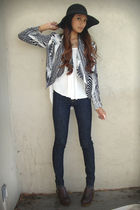 black Forever 21 hat - white Forever 21 top - gray H&M blazer - blue J Brand jea