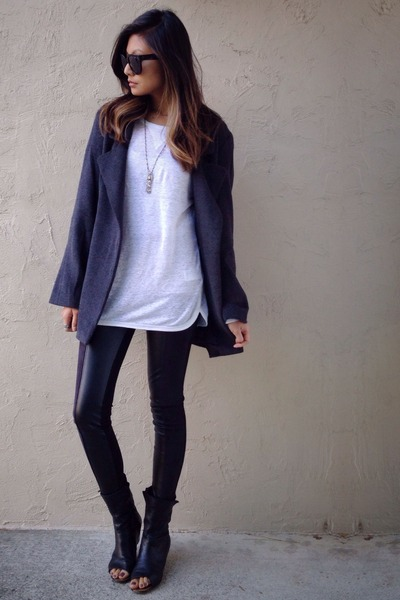 black Zara leggings - gray Someday lovin coat - black audrey Celine sunglasses