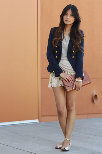 navy H&M blazer - neutral H&M shorts