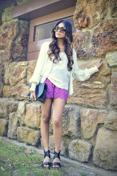 magenta f21 romper - cream laureate lane cardigan