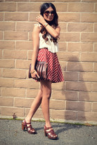 cream H&M top - brick red f21 skirt - dark brown Zaea clogs - gold house of harl