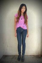 magenta fade & sparkle blouse