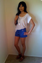 beige BDG top - blue f21 shorts - brown Jeffrey Campbell shoes - white f21 acces