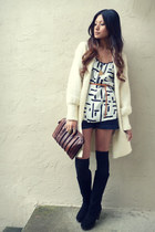 dark brown vintage purse - navy lyel fletcher shorts - cream vintage cardigan -