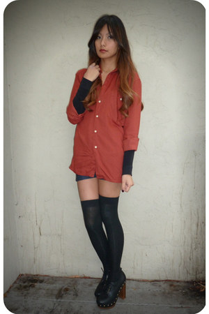 burnt orange YSL blouse - black Forever 21 socks