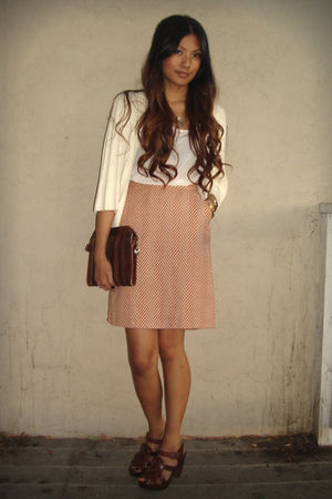 orange Tucker skirt - white BDG blouse - brown vintage from Ebay bag - brown Zar