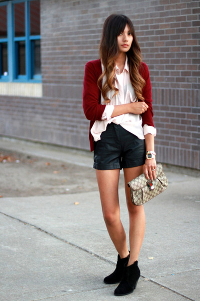 black f21 shorts - neutral H&M blouse - brick red Zara cardigan