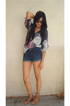 gray Yumi Kim blouse - blue H&M shorts - brown Dolce Vita shoes - black aj morga