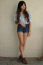 blue Collective Concepts top - blue H&M shorts - brown Jeffrey Campbell shoes -
