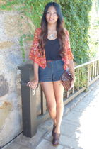 red Forever21 blazer - black Old Navy top - blue Forever 21 shorts - brown Steve