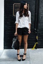 off white Zara blouse - black Zara shorts