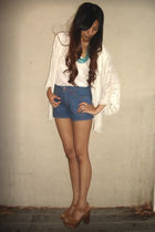 white moth cardigan - white BDG top - blue f21 shorts - brown Jeffrey Campbell s