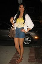 yellow Forever21 top - blue 18th ammendment shorts - brown Louis Vuitton purse -