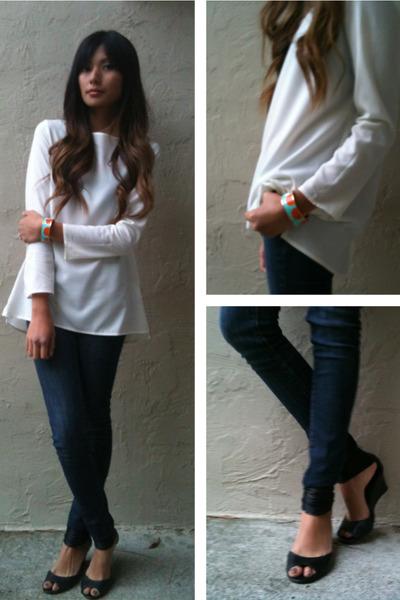 coral Poshlocket bracelet - ivory Zara blouse