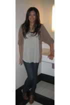 brown Forever 21 sweater - gray Twelfth St by Cynthia Vincent top