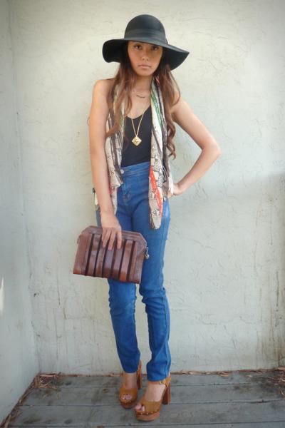 black Forever 21 top - blue BDG jeans - brown Jeffrey Campbell clogs - brown thr