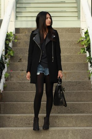 black Zara coat - blue Levis shorts - navy Zara blouse