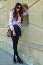brown Zara bag - navy lyell fletcher shorts - brick red Zara blouse - black Zara