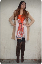 camel na coat - neutral H&M cardigan - red unknown dress - black Forever 21 sock