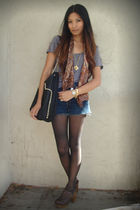 gray Patterson J Kincaid t-shirt - brown vintage scarf - black Zara bag - brown