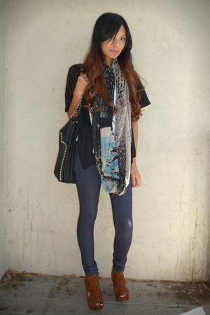 black Zara purse - brown Jeffrey Campbell shoes - blue f21 jeans