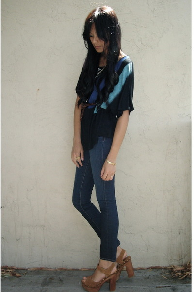 black Sparkle&Fade top - blue J Brand jeans - brown Jeffrey Campbell shoes - gol