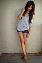 gray love21 top - blue lucca couture shorts - brown jeffrel campbell shoes - gol
