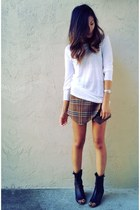 brown plaid skirt Zara skirt - off white linen isabel marant h&m t-shirt