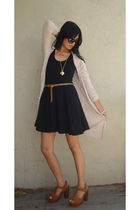 black f21 dress - beige H&M cardigan - brown Jeffrey Campbell shoes - brown f21