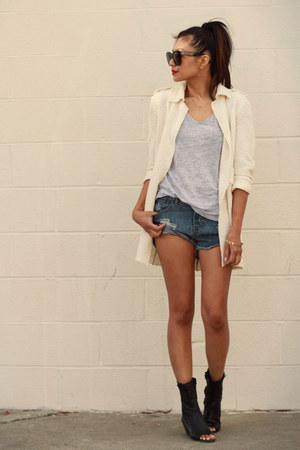 Zara coat - Dolce Vita boots - One Teaspoon shorts - Zara t-shirt