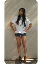 white f21 top - blue f21 shorts - brown Jeffrey Campbell shoes - gold Kenneth Co