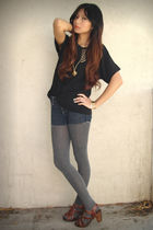 black blouse - blue Siwy shorts - gray Zara tights
