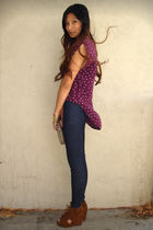 purple Lux top - blue Joes Jeans jeans - brown Jeffrey Campbell shoes - gold f21
